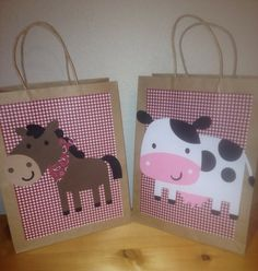 Set of 6 large party favor loot bags gingham farm animal cowboy western barnyard country party on Etsy, $22.00