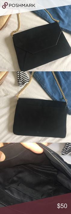 ✨ANN TAYLOR SUEDE ENVELOPE BAG✨ 100% leather, soft suede bag with a gold chain. It's the perfect, timeless bag! Minimal signs of wear. On the snap closure there is a small nail polish stain, and two other small, barely noticeable stains. See pics for reference. Ann Taylor Bags Clutches & Wristlets