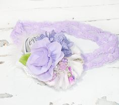 Lady Lavender - headband in purple, lavender, dusty purple, grey and white (RTS) by SoTweetDesigns on Etsy