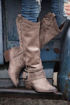 One Last Thing Laser Cutout Stitch Detail Boots (Taupe) 146cb12ba73