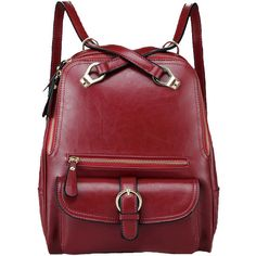 Chicnova Fashion Faux Leather Vintage Backpack featuring polyvore, fashion, bags, backpacks, backpack, chicnova, accessories, vintage rucksack, red bag, red backpack, faux leather backpack and preppy backpacks