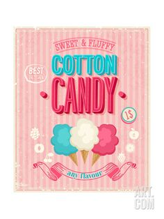 Vintage Cotton Candy Poster Art Print by avean at Art.com