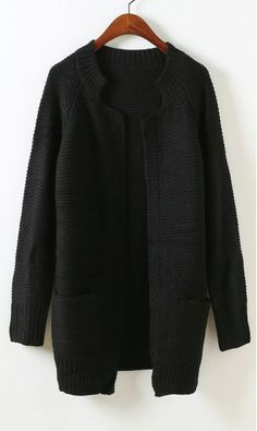 Candy colored long sleeved knit cardigan black