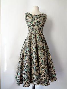 stunning vintage 50s party dress velvet flocked on beige and mint print