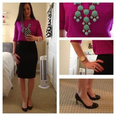 a perfect pencil skirt. Black Patent Heels, Black Shoes, Monday Outfit, Black A Line Skirt, Purple Blouse, Office Attire, Dress For Success, What I Wore, A Line Skirts