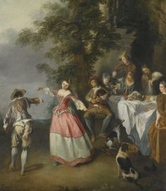 Nicolas Lancret PARIS 1690 - 1743 FÊTE CHAMPÊTRE WITH A DANCING COUPLE oil on canvas, in a carved and gilt wood frame