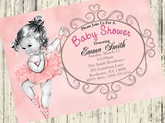 ballerina baby shower invitation girl baby shower by