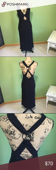 "Free People ""All The Right Angles"" Dress New with tags! Ribbed material. Strappy racerback with metallic ring. Keyhole diamond cutout. Bodycon style. Navy Blue . Free People Dresses Midi"