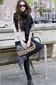 neutrals + leopard + boots