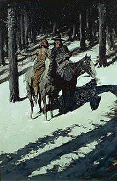 Frederic Sackrider Remington (1861 – 1909). Indian scouts in the moonlight. [Pinned 2-i-2015]