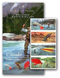 2005 Canada Post  -  Fishing Flies:  The exquisite talents of expert tiers combine with masterly paintings of landscape scenes to net a fine catch of stamps celebrating the art and craft of fly-fishing in Canada.