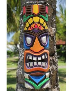 Fairtrade Vibrant Hand Painted Wooden Wiki Tiki Mask | 50cm