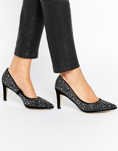 Truffle Collection Tegan Diamante Point Court Shoes