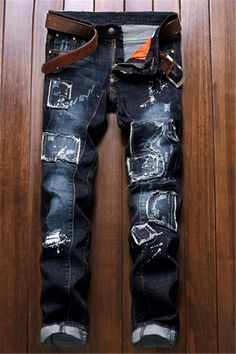 $29.99 Zip Fly Patch Design Distressed Jeans