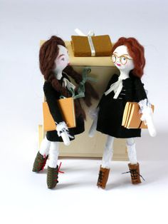 Julie and Cléo Schoolgirls - Handmade Paper Clay Dolls - One Of A Kind. $170.00, via Etsy.