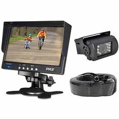 """Pyle PLCMTR71 Weatherproof Rearview Backup Camera System Kit with 7"""" LCD Color Monitor and IR Night Vision Camera"""