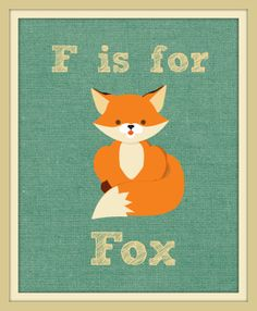 F is For Fox Woodland Theme 8x10 Nursery Art