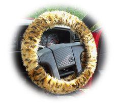 Cheetah steering wheel cover car Gold & black spot animal print faux fur furry fluffy fuzzy by PoppysCrafts, £8.49