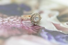 Jewelley design. Luxury expensive engagement ring. Marion Rehwinkel rose gold ring.