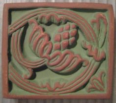 1 Moravian Ceramic Tile   Seed Pomegranite by StarPower99 on Etsy, $14.00