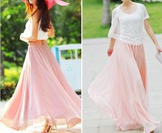 Princess pink Chiffon  Maxi Skirt  by fashionclothingshow, pretty!