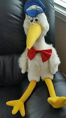 Large Vlasic Pickles Advertisement Stork Bird Plush Fabric Toy Doll Trudy 1989