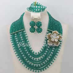 Nigerian Wedding Beads Jewelry Set Teal Green Crystal Beads Bridal Jewelry Sets African Beads Jewelry Set Free Shipping ABF294
