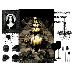 Moonlight shadow party - Halloween decor by b-whalley on Polyvore featuring interior, interiors, interior design, home, home decor, interior decorating, Riedel and A by Amara