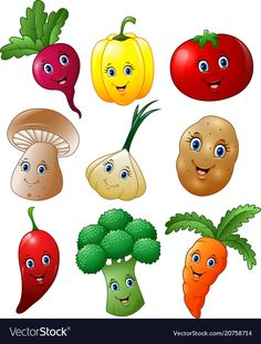 Cartoon vegetables collection set vector image on VectorStock Diy And Crafts, Crafts For Kids, Arts And Crafts, Paper Crafts, Vegetable Cartoon, Cartoon Vegetables, Deco Fruit, Vegetable Crafts, Fruit Cartoon