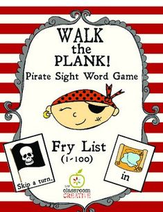 Keep your kids playing with words this summer! Super fun and even includes an assessment sheet...  Pirate Sight Word Game: Walk the Plank! (Fry Word List 1-100)