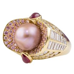 MAUBOUSSIN Natural Pearl Pink & White Diamond Ruby Gold Ring - 1stdibs.com