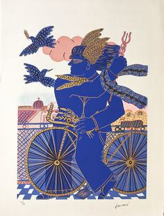 Find this artwork on Artsper: Hermès by Alekos Fassianos. John Edwards, Contemporary Artwork, Contemporary Artists, Louis Aragon, Greek Paintings, Art En Ligne, Greek Art, Gravure, Artist Art