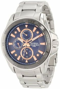 Armitron Men's 20/4838BRSV Stainless Steel Silver-Tone Blue Dial Bracelet Watch Armitron. Save 25 Off!. $71.24. Large 42.5 mm round brushed silver-tone stainless-steel case. All brushed stainless-steel silver-tone adjustable link bracelet. Water-resistant to 50 M (165 feet). Gunmetal-grey bezel engraved with Arabic numerals and markers. Textured blue dial with rose gold-tone, luminous filled markers at all hours, 4 accent screws and day date & 24 hour functions sub dials