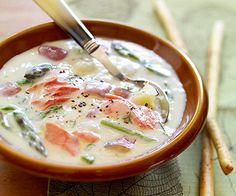 Great Lakes Salmon Chowder - with onions, dill, potatoes and asparagus