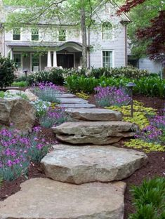 Natural Stone Steps + Treads - irregular and uniform. Bluestone and granite stone steps, rocksteps, and treads for landscaping, outdoor use. Stone Landscaping, Hillside Landscaping, Outdoor Landscaping, Front Yard Landscaping, Landscaping Ideas, Outdoor Stone Steps, Stone Deck, Yard Stones, Stepping Stones