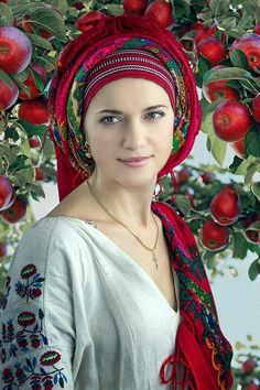 All Things Ukrainian - the stichted roses and the head scarf