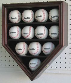 12 Baseball Display Case Cabinet Holder-lock-uv Door Great For Your Autographed…