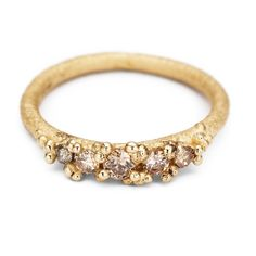 Unusual Engagement ring with Champagne Diamond by Ruth Tomlinson