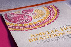 Letterpress Hindu Indian Morrocan Pink and Yellow Wedding Invitation. $10.00, via Etsy.