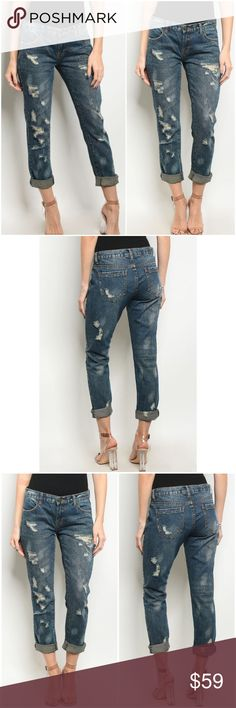 """SALE Dark Denim Distressed Embellished Jeans Currently available in small, large, and XL only Measurements taken from small: L: 32"""", W: 30"""", Inseam 25"""" 100% Cotton A Mermaid's Epiphany Jeans"""