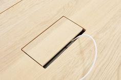 Leaf Table, Diy Table, Desk Grommet, Cable Grommet, Smart Office, Smart Desk, Flat Interior, Interior Design, My Workspace