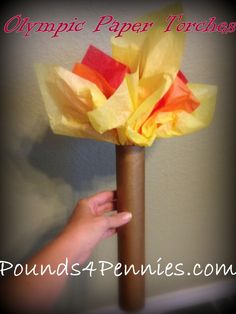 Fun Olympic craft. How to make an Olympic Torch. Paper towel tube craft to make torches.