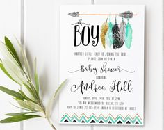 Tee Pee Aztec Tribal Southwest Baby Shower Sprinkle Invitation Invites Boy, Mint Black Gold Feathers Arrow Baby Shower Invite for Boy [13] by 21Willow on Etsy https://www.etsy.com/listing/471801077/tee-pee-aztec-tribal-southwest-baby #babyshowerinvitations
