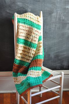 Vintage Afghan Blanket Crocheted in Teal off White by drowsySwords, $55.00