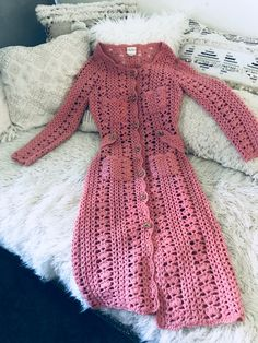 Reserved for Mori Vintage Coat Boho Long Knit Crochet Jacket Hippie Chic Dusty Pink Bohemian Festival Clothing Boho Jacket Crochet Coat, Crochet Jacket, Crochet Cardigan, Crochet Clothes, Crochet Baby Boots, Crochet Shell Pattern, Vintage Coat, Top Vintage, Crochet Fashion