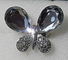 Crystal Rhinestone Acrylic Butterfly Ring