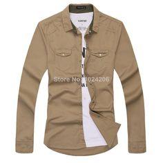 FREE SHIPPING Mens Casual Slim Fit Stylish Shirts Dress Shirts Men Long-sleeved shirt Men's Fashion Luxury Designer Washed Shirt $18.35
