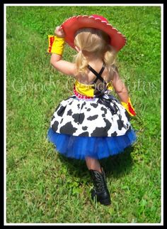 STORYTIME COWGIRL Jessie Inspired 5pc Tutu Set with Corseted Top, Twirl Skirt, Wrist Cuffs and Cowgirl Hat. $95.00, via Etsy.