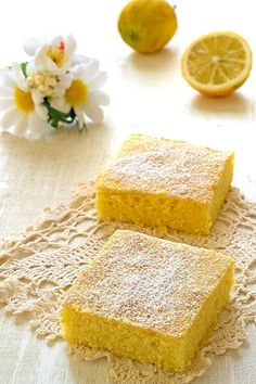 Soft and delicious lemon brownies - A Sicilian in the kitchen Cupcake Recipes, Baking Recipes, Cupcake Cakes, Baking Cupcakes, Butter Cream Icing Easy, Lemon Brownies, Cake & Co, Muffins, English Food