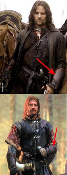 Never realized that after Boromir's death, Aragorn wears his bracers, no characters even mention it.